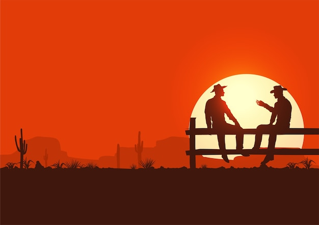 Wild west illustration, silhouette of cowboys sitting on fence