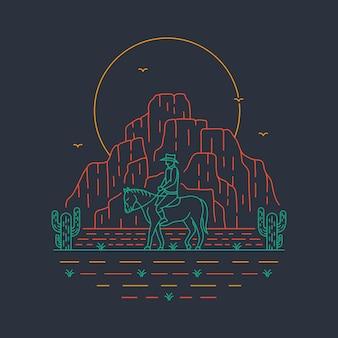 Иллюстрация путешествия дикого запада в рисованной