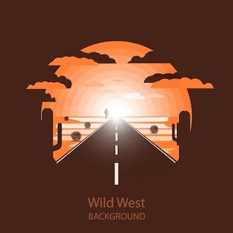 Wild west landscape.lone road in the desert.