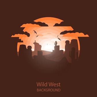 Wild west landscape. western scene. negative space illustration