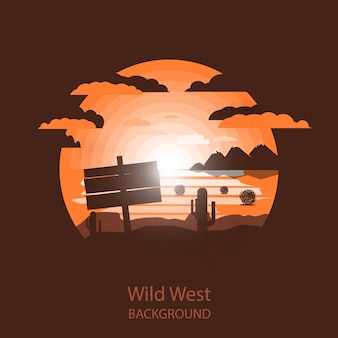 Wild west landscape.wooden plate in the dry desert.
