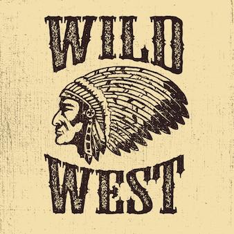 開拓時代の米国)西部地方。ネイティブアメリカンチーフヘッドのイラスト。ロゴ、ラベル、エンブレム、記号の要素。図