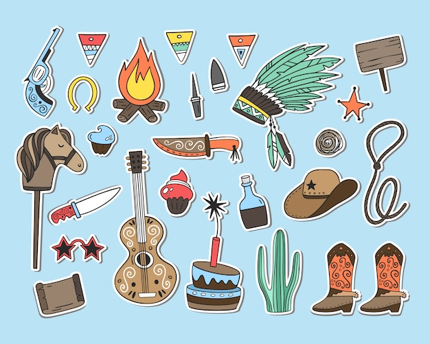 Wild west party. vector set of elements, objects. stickers