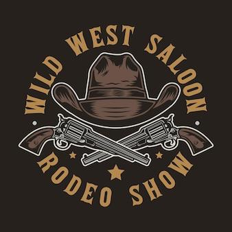 Wild west pistol guns and cowboy hat