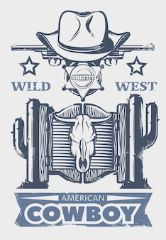 Wild west print or poster with american cowboy headline and cowboys attributes and elements