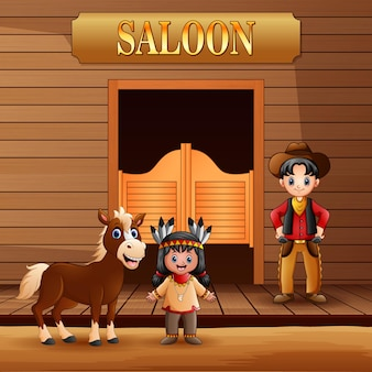 Wild west saloon with cowboy and american indian girl