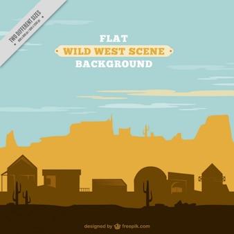Wild west scene in flat design