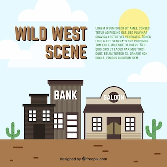 Wild west scene with bank and saloon