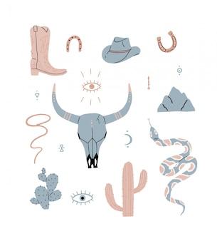 와일드 웨스트 세트, 버팔로 두개골, 눈, 산, 선인장, 카우보이 모자, 카우보이 부츠, 독사. 벡터 일러스트 레이 션 컬렉션 절연