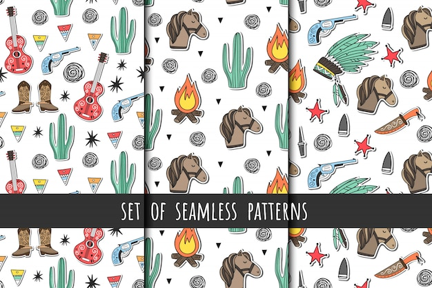 Wild west. set of vector seamless patterns in cartoon style