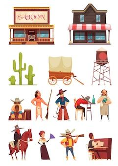 Дикий запад со зданиями и человеческими персонажами