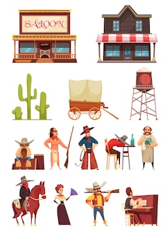 Wild west set with buildings and human characters