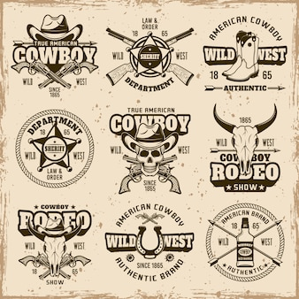 Wild west, sheriff department, cowboy rodeo show set of vector brown emblems