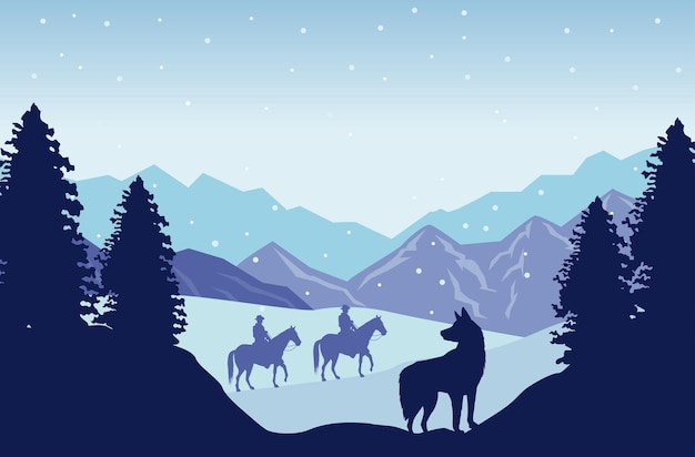 Снежный пейзаж дикого запада с ковбоями на лошадях и собаках