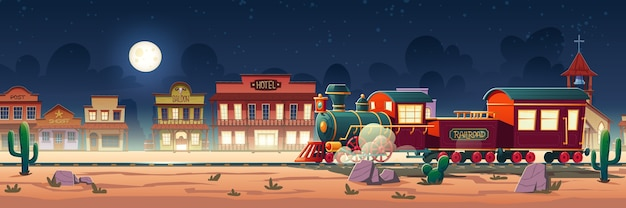 Wild west steam train at night western town with railroad, vintage locomotive, desert landscape, cacti and old wooden city buildings hotel, post, saloon, sheriff and church cartoon illustration