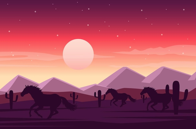 Wild west sunset desert scene with horses running