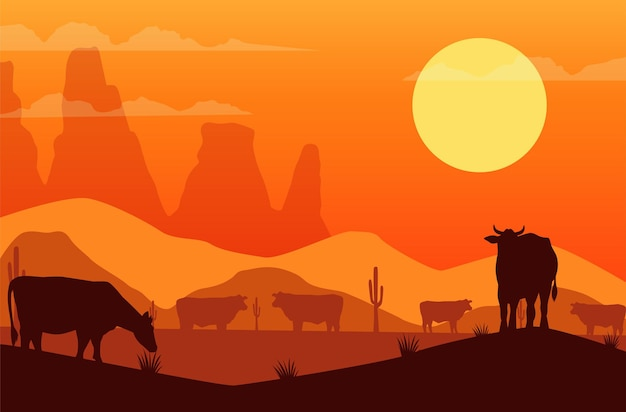 Wild west sunset scene with cows