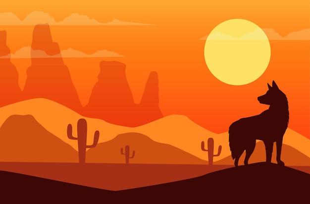 Wild west sunset scene with dog silhouette