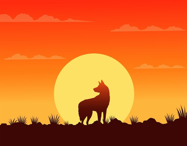 Wild west sunset scene with dog