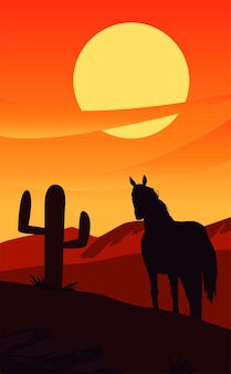 Wild west sunset scene with horse and cactus desert