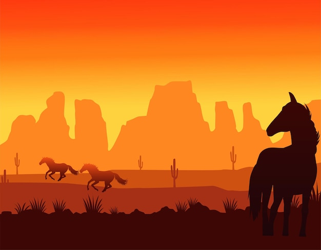 Wild west sunset scene with horses running