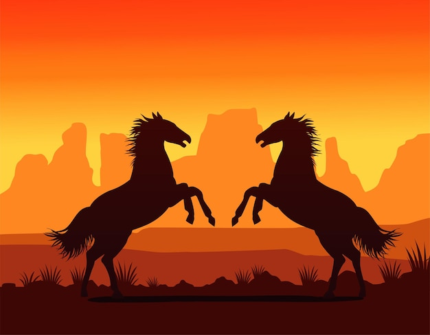 Wild west sunset scene with horses