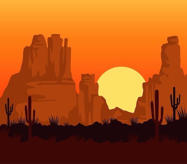 Сцена заката на диком западе с горами и кактусом