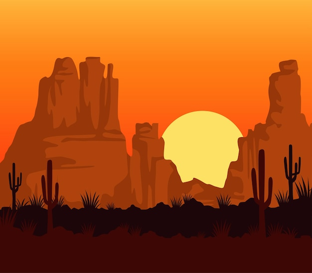 Wild west sunset scene with mountains and cactus