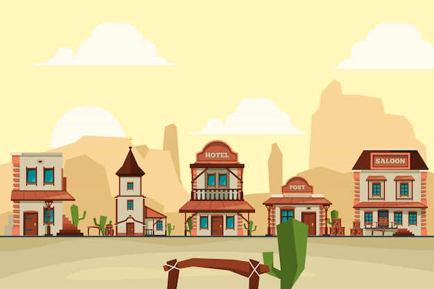 Wild west town. old western architectural elements city background with saloon bar and store background illustrations