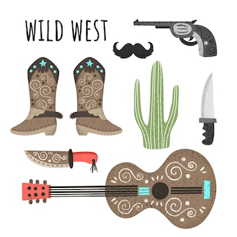 Wild west. vector set of elements with texture. guitar, cowboy boots, knives, revolver, cactus mustache