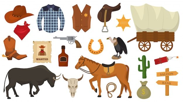 Wild west vector western cowboy or sheriff signs hat or horseshoe in wildlife desert with cactus illustration wildly horse character for rodeo set isolated on white Premium Vector