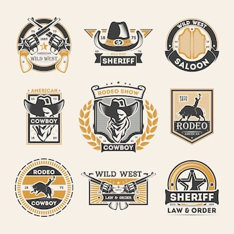 Wild west vintage isolated label set