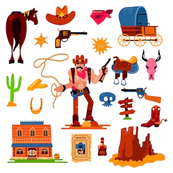 Wild west   western cowboy character in wildlife desert with cactus illustration wildly sheriff in hat with gun on rodeo set