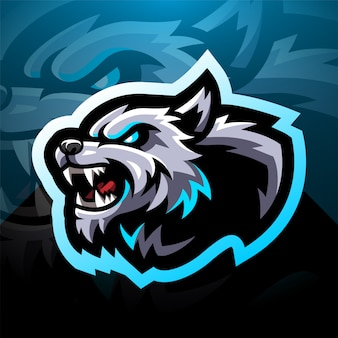 Wild wolf head esport mascot logo design