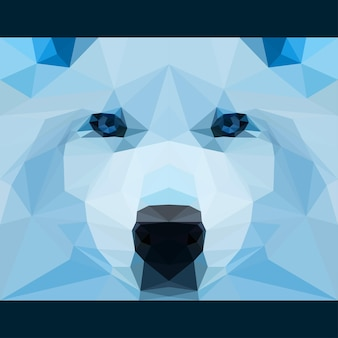 Wild wolf stares forward. nature and animals life theme background. abstract geometric polygonat triangle illustration for use in design for card, invitation, poster, banner, placard, billboard cover