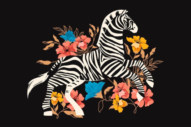 Wild zebra with exotic tropical flower and foliage.