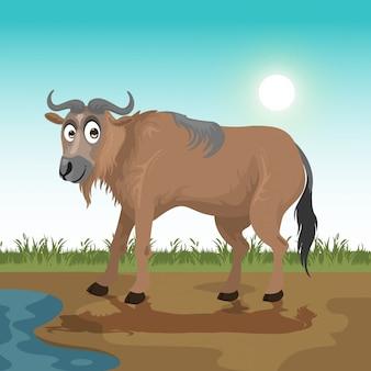 Wildebeest cartoon in the savanna