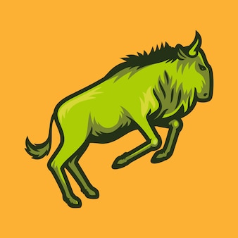 Wildebeest jumping vector illustration