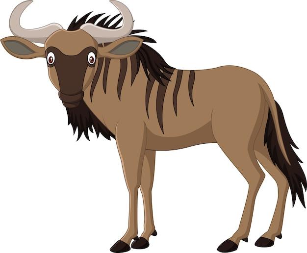 Мультфильм wildebeest, изолированных на белом фоне