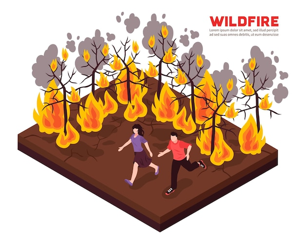 Wildfire isometric composition with people running away from flame of burning forest trees