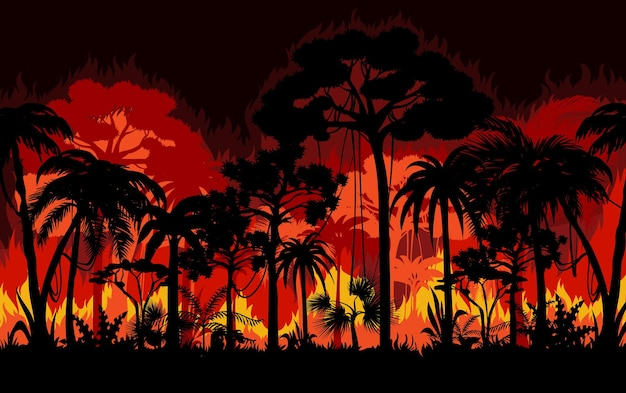Wildfire in tropical forest Premium Vector