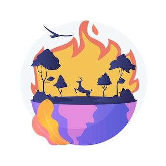 Иллюстрация абстрактной концепции лесных пожаров. лесные пожары, пожаротушение, причины лесных пожаров, потеря диких животных, последствия глобального потепления, стихийные бедствия, высокая температура