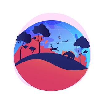 Illustrazione di concetto astratto di incendi. incendi boschivi, lotta antincendio, causa di incendi, perdita di animali selvatici, conseguenza del riscaldamento globale, disastro naturale, temperatura elevata