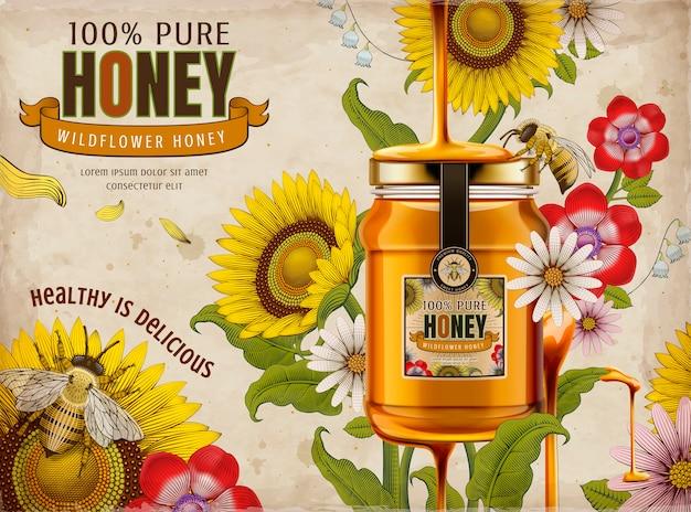 ワイルドフラワー蜂蜜の広告、イラストのガラスの瓶で上から滴り落ちるおいしい蜂蜜、シェーディングスタイルのエッチングでレトロな花の要素、カラフルなトーン