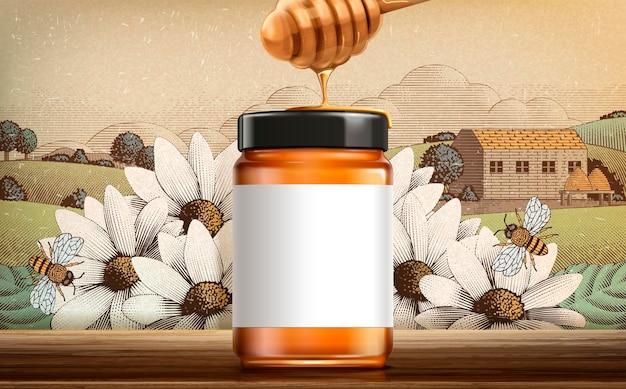刻まれた田舎の風景にデザイン用の空白の白いラベルが付いている3dイラストの野花蜂蜜製品