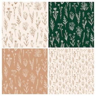 개요 꽃으로 설정 하는 야생화 완벽 한 패턴입니다. 소박한 색상의 손으로 그린 꽃이 있는 복고 스타일 인쇄 디자인 컬렉션입니다. 벽지, 포장, 패브릭 디자인을 위한 간단한 필드 꽃 패턴
