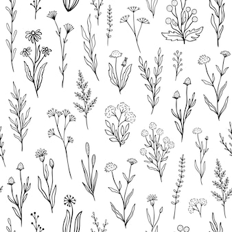 アウトライン花柄のワイルドフラワーシームレスパターン。黒と白の色で手描きの落書きの花とレトロなスタイルのプリントデザイン。パッケージング、ファブリックデザインのためのシンプルなフィールドの花柄。