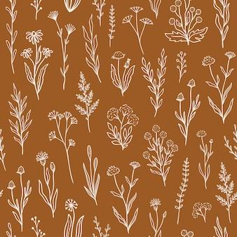 개요 florals와 야생화 완벽 한 패턴입니다. 소박한 색상에 손으로 그린 낙서 꽃과 복고풍 스타일 인쇄 디자인. 벽지, 포장, 패브릭 디자인을 위한 간단한 필드 꽃 패턴