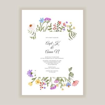 Modello dell'invito di nozze di fiori selvatici