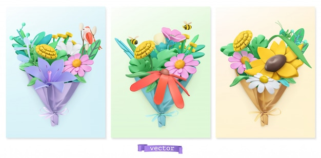 Wildflowers bouquet.lasticine art. 3d  icon set